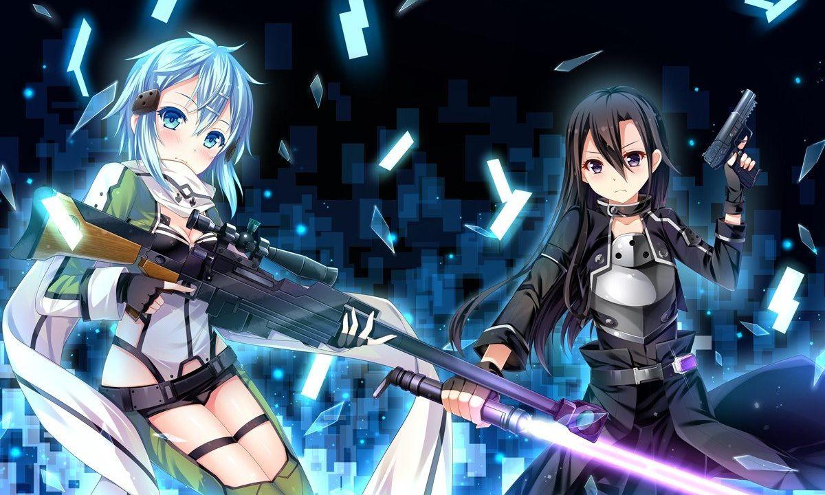 anime-sword-art-online-anime-girls-asada-shino-kirigaya-kazuto