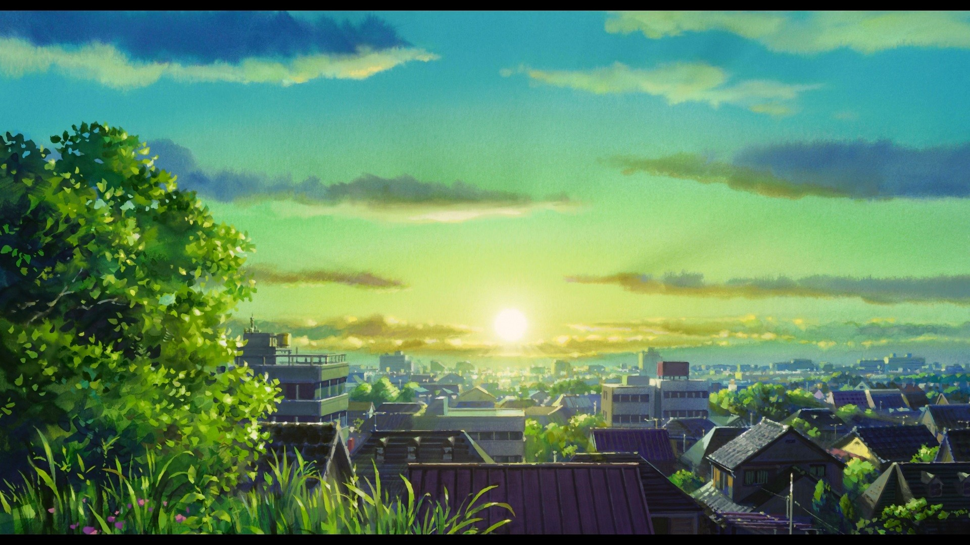sunlight-landscape-cityscape-anime-sky-evening-morning-Sun-horizon-town-atmosphere-cloud-plain-screenshot-computer-wallpaper-239716