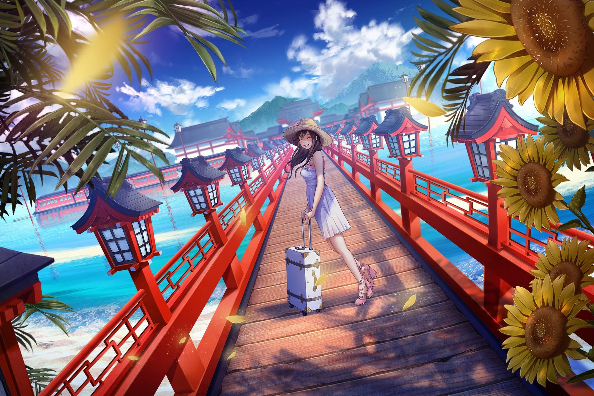 anime-art-devushka-podsolnukhi-more-voda-oblaka-plate-tsvety